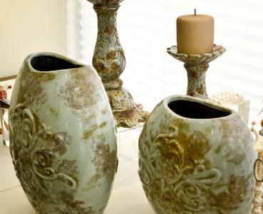 вазы и подсвечники керамические ручная роспись.