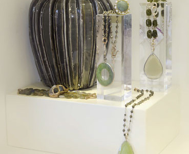 Ceramic vase handmade, necklaces and pendants necklace with semiprecious stones and silver.