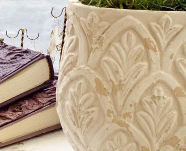 Terracotta vase hand painted.