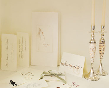 Equity, book signatures, wax seals and sealing wax sticks. Candle holders and silver shell.