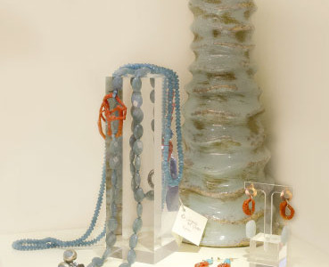 N11 ceramic vase hand painted, necklaces and earrings chalcedony, aquamarine, coral and silver with gold plating.