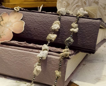 Necklace pyrite. Photo albums for weddings in paper mache.